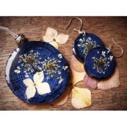 Conjunto: colgante y pendientes azul