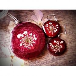 Conjunto: colgante y pendientes rojo