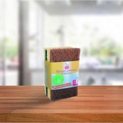 Esponja estropajo marrón/verde 2 ud