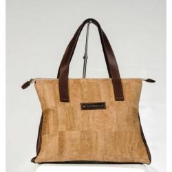Bolso-business corcho con piel marrón